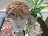 VTG United Hatters Union Made Ladies Bow Hat Veil Netting Formal Dress Caps