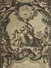 c1700 ANTIQUE PRINT ~  HOPE ORNAMENTS FOR EMBELLISHING FRONTISPIECE ARCHITECTS