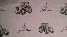 JOHN DEERE 100 % cotton sewing fabric PINK I Love John Deere girls