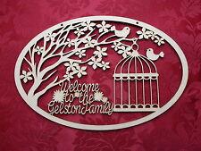 Benvenuto personalizzata in LEGNO MDF Birdhouse PLACCA Craft Parete Porta appesi ART