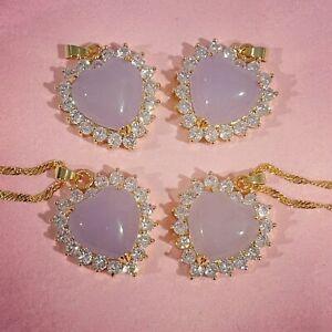 Lavender Jade Heart Necklace