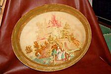 """Antique Oval Velvet Framed 22 x 27""""  Needlepoint Tapestry of Women at Castle"""