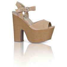 WOMENS LADIES STRAPPY PLATFORM PEEPTOE BUCKLE CUT OUT WEDGES HEELS SHOES SIZE