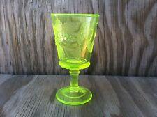 Depression Green Fruit Vaseline Uranium Clear Glass Semmed Goblet