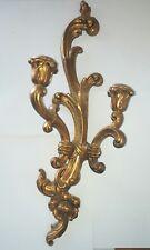 Vintage Syroco Gold Gilt Hollywood Regency Wall Sconce Candle Holder