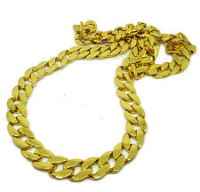 Mens XL 33 pollici di lunghezza placcata oro 14K Miami Cuban Link HipHop Bling catena