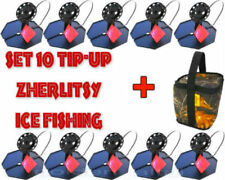 set 10 pcs Ice Fishing Zherlitsy Tip-Up + Gift: Carrying Bag. Effective,simple