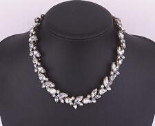 Women Charm Crystal Flower Pendant Statement Bib Chunky Choker Necklace