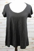 Cut Loose Black Slub Cotton Linen Scoopneck Swing Tunic Shirt sz XS Lagenlook