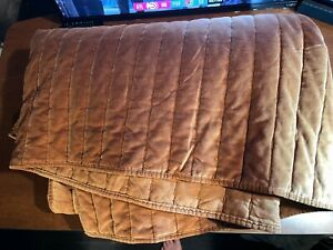 Full/Queen Channel Stitch Velvet Quilt Caramel - Threshold used fast free ship