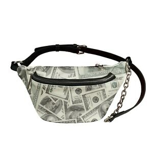 Paper Money Print Women Crossbody Shoulder Chest Bag Casual Daily Leather Purse