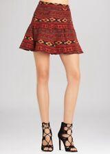 NWT BCBGeneration $88 Flared Jacquard Mini Skirt Size 2 Red Multi Aztec