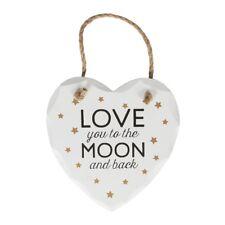 I LOVE YOU to the Moon E Indietro la Placca Insegna LEGNO BIANCO CUORE da appendere decorazione