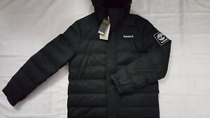 NEW TIMBERLAND MEN'S PUFFER BLACK JACKET WITH HOOD SIZE L