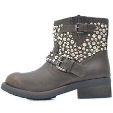 Damen Schuhe Worker Biker Boots Stiefeletten mit Nieten Strass Beige Braun