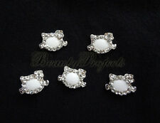5pcs nail art white kitty 3D cat face rhinestone charms acrylic nails gel A97