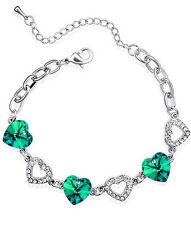 Silver Tone Emerald Dark Green Crystal Rhinestone Hearts Women Bracelet