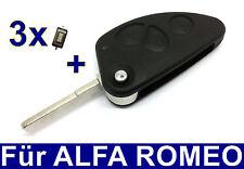 3T Remplacement Tirez sur les clés logement pour Alfa Romeo 147 156 166 GT+ 3x
