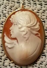 Small Cameo Brooch Pendant (Lot 1) Vintage 14K Yellow Gold Frame Carved Shell