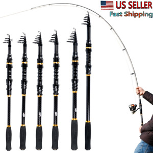 Super Hard Carbon Fishing Rod Travel Telescopic Pole Alloy Spinning Rod Lure US