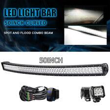 "50"" 288w Curved LED Light Bar + 4'' 18w Pods Cube for 07-13 GMC Chevy Silverado"