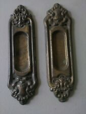 ANTIQUE VICTORIAN DECORATIVE PULL PLATES, CAST IRON, BRASS PLATED.