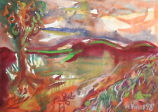 1998 EXPRESSIONIST WATERCOLOR PAINTING LANDSCAPE SIGNED