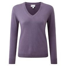 Pure Collection Cashmere Double V Neck Sweater - Smokey Mauve Size 10 RRP £140