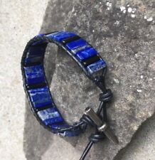 Men's Lapis and Black Obsidian Beaded Black Leather Cuff Bracelet handmade NEW