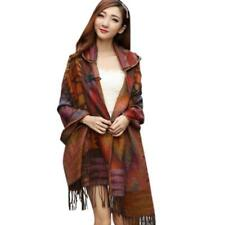 Women Bohemian Scarf Boho Hooded Cape Cloak Warm Jacket Coat Poncho Shawl Tops Purple