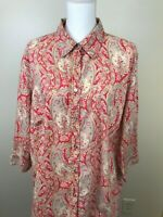CHAPS Womens Button Front Blouse 3/4 Sleeve Paisley Print Red Tan Cotton 2X