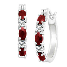 1.50 Ct Ruby Hoop Earrings with Diamond in 14K White Gold Over Brass Free Ship