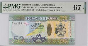 Solomon Islands 50 Dollars nd 2013 P 35 Superb Gem UNC PMG 67 EPQ
