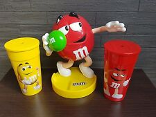 "9"" M&Ms dispenser, released for 2016 olympics, shot put red m&m & 2 cups + lids"