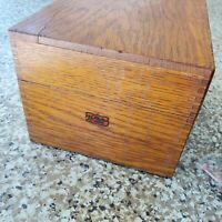 Antique Vintage Weis Oak Wood Dovetailed Index 4x6 Recipe Card Catalog File Box