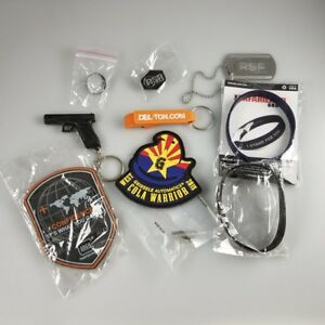 2018 SHOT SHOW SWAG – PINS KEYCHAINS PATCHES – GLOCK KIMBER GEISSELE KIMBER