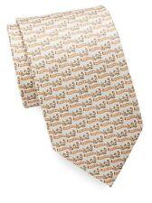 NWT Men's Authentic Salvatore Ferragamo Dog & Scarf Ivory Silk Tie $190