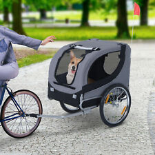 More details for pawhut pet bicycle trailer steel dog bike carrier water resistant travel grey