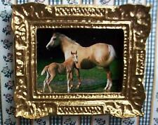 dollshouse gold picture horse and foal and frame 1/12 scale miniature ornament