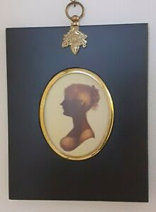 Portrait Miniature of Cassandra Austen in an acorn hanger black frame