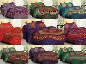 Mandala Quilt Duvet Cover Indian Bedding Gold Cotton Doona Cover Bed Set Throw