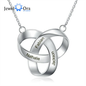 Customied Free Engraving Name Necklace Stainless Steel Ring Pendant Gift For Her