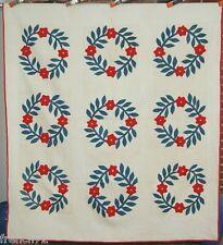 CLASSIC Vintage 1870's President's Wreath Antique Quilt ~STUFFED APPLIQUE!