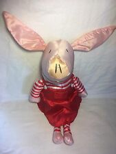 "Olivia Plush Pig Large 28"" Stuffed Toy Chorion 2012 U.K. Red Dress Stripes"