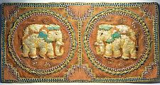 ANTIQUE BURMESE KALAGA HAND BEADED TAPESTRY THREAD EMBROIDERY ELEPHANTS