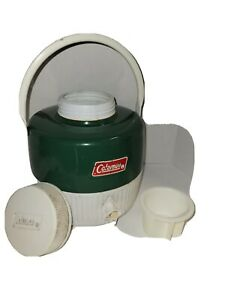 Vintage Coleman Water Jug Cooler Green/White Thermos,clean