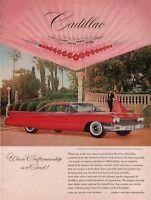 """1960 Cadillac Coupe DeVille De Ville Red Car """"V """"Vintage Color Photo Print Ad"""