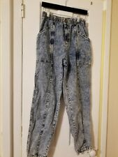 CHEROKEE Vintage Acid Wash High Waist Pleat Front Elastic Back Jeans Size 12