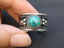 Large Adjustable Tibetan Big Round Turquoise Gemstone Weaving Dotted Amulet Ring