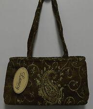 Handbag Tote Designer Purse Paisley Pattern Brown Gold Bead Accent Rayon India